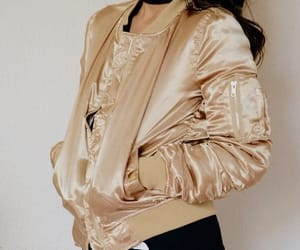 bomber, fashion, and gold image