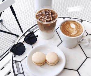 coffee, drink, and macarons image