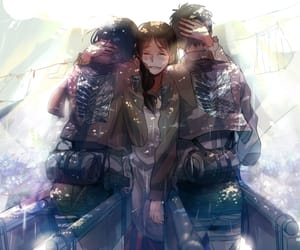 attack on titan, mikasa ackerman, and eren jeager image