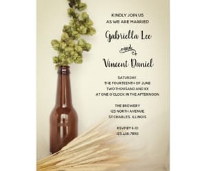 rustic, brown glass beer bottle, and green hops image