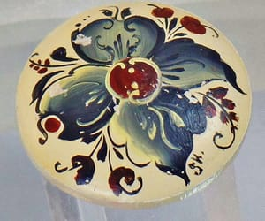 etsy, flower brooch, and blue white flower image