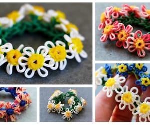 bracelet, daisy, and rainbow loom image
