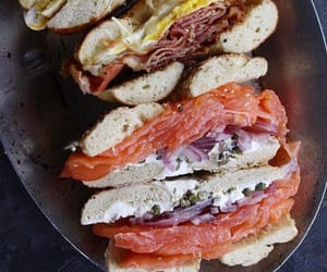 bagel, seafood, and food image