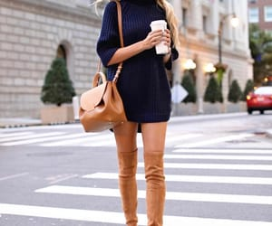 knee high boots, navy dress, and camel purse image