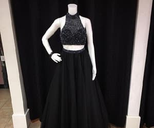 black prom dresses, beautiful prom dresses, and two pieces prom dresses image