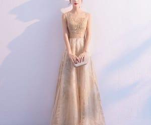 evening dress, girl, and gold dress image