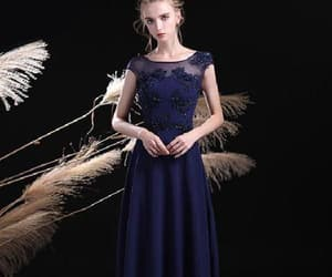 long evening dresses, a-line evening dresses, and navy blue evening dresses image