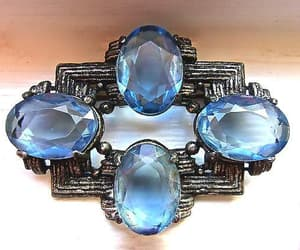 etsy, blue brooch, and faceted glass brooch image