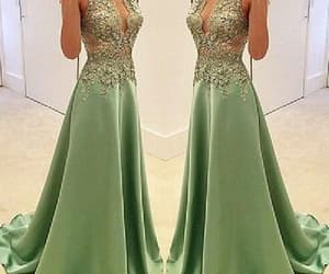 v neck prom dress, v-neck prom dress, and appliques prom dress image