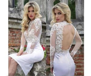 short prom dress, custom homecoming dresses, and white lace prom dress image
