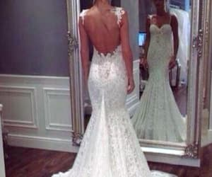 wedding dress, mermaid party dresses, and lace party dresses image