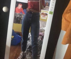 90s, red, and mom jeans image