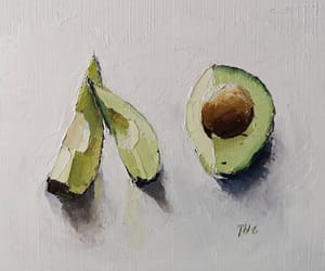 art, oil paintings, and avocado image