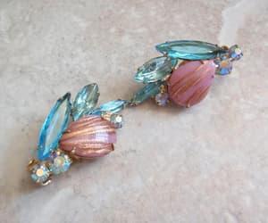 aurora borealis, rhinestone earrings, and pink blue earrings image