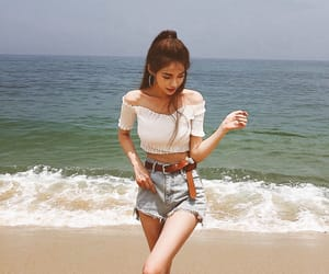 beach, outfit, and blue image
