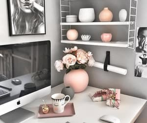 home, desk, and pink image