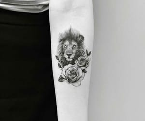 b&w, girly, and lion image