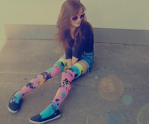 colors, girl, and sunglasses image