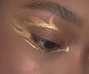 eye, gold, and makeup image