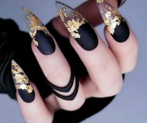 nails, black, and gold image