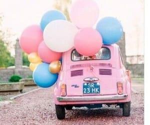 araba, pinkcar, and baloons image
