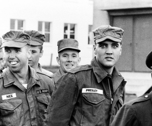 army, black and white, and elvis image