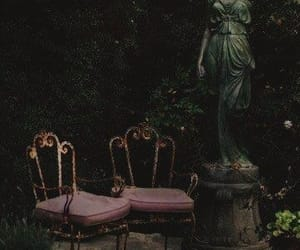 chairs, nature, and dark image