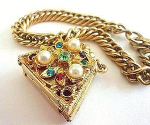 etsy, chain bracelet, and gold tone image