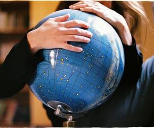 world, blue, and globe image