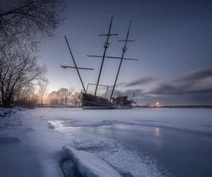boat, frozen, and ice image