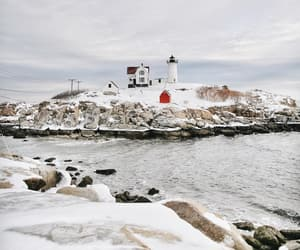 coast, lighthouse, and Maine image