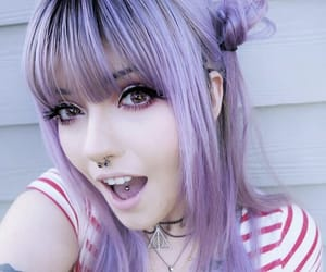 dyed hair, girl, and colored hair image