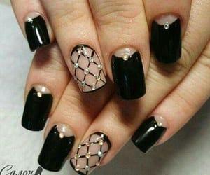black nails, uñas, and manicure image