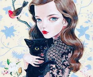 art, cat, and girl image