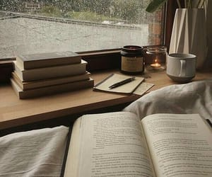 books, view, and rainy day image