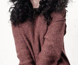 curly hair, jumper, and knitting image