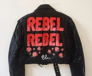 flowers, jacket, and leather image