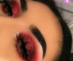 makeup, red, and glitter image