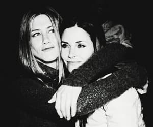 black and white, Courteney Cox, and Jennifer Aniston image