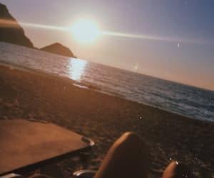 beach, Greece, and sunset image