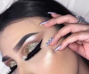 beauty, eye make up, and nail art image