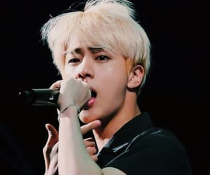 blonde hair, jin, and kpop image