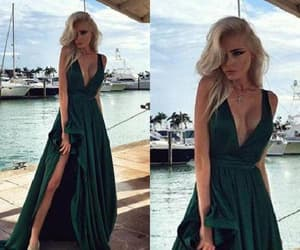 chiffon prom dress, green evening dresses, and sexy evening dresses image