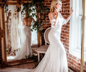 dress, window, and wedding image