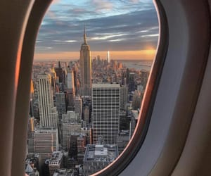 travel, new york, and airplane image