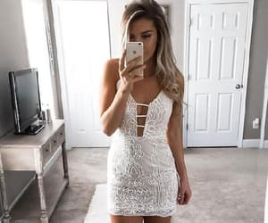 homecoming dresses, lace party dresses, and white party dresses image