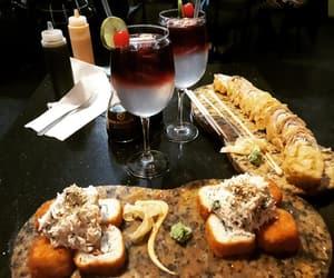 comida, sangria, and sushi image