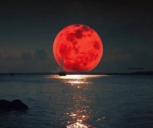 beach, full moon, and lagoon image