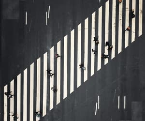 aerial view, crosswalk, and lines image