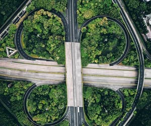 aerial photography, road, and urban image